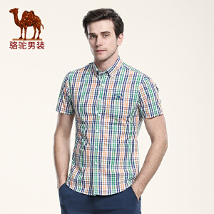 骆驼男装 夏季新款无弹扣领尖领修身日常休闲格子短袖衬衫男