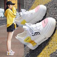 韩版百搭厚底松糕鞋女 新款女士内增高鞋子 户外休闲运动小白鞋女