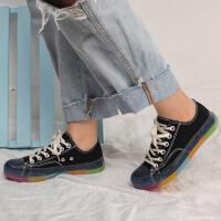 2019新款学生韩版水晶底透明彩虹底帆布鞋女低帮潮流板鞋鞋送鞋带