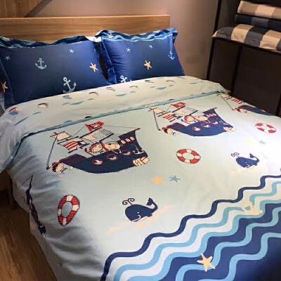 棉儿童床上用品四件套被套男孩床单1.2米床三件套1.5m1.8米y