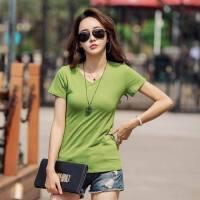 夏装新款纯色v领短袖t恤女士棉紧身打底衫百搭女装打底上衣