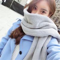 长款仿毛毛绒獭兔毛围巾女冬季韩国韩版百搭灰色披肩学生围脖套头