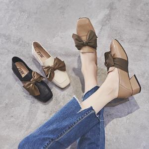 HR2019春季新款仙女粗跟小皮鞋女韩版网红晚晚鞋方头韩版女鞋子