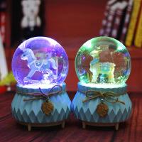 木马小鹿水晶球旋转飘雪花音乐盒生日礼物圣诞节送同学