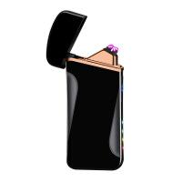 充电打火机双电弧 跑马灯电量显示USB点烟器 个性定制 优雅黑