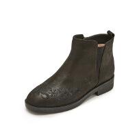 【 限时4折】哈森旗下爱旅儿冬季时尚绣花低跟切尔西靴女短靴EA75303