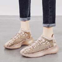 jm快乐玛丽2020春夏季新款休闲百搭弹力飞织厚底防滑系带浅口运动女鞋