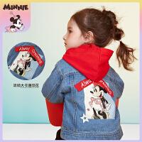 迪士尼女童外套多彩时光女童梭织牛仔外套上衣