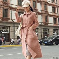 双面羊毛外套2018秋冬新款长款单排扣翻领千鸟格羊绒大衣