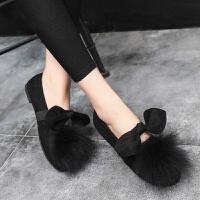 豆豆鞋秋冬季瓢鞋女大码毛毛鞋2018新款韩版绒面蝴蝶结外穿一脚蹬