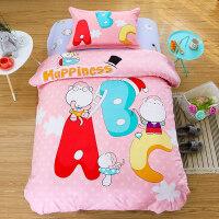 纯棉卡通床上用品三件套床笠全棉儿童男孩女孩床单人被套 1.5m(5英尺)床