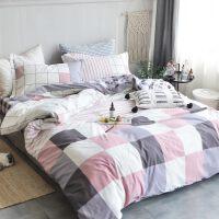 四件套全棉纯棉床上三件套床单被套床笠被单被罩大气简约少女双人