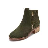哈森旗下爱旅儿女鞋简约复古风粗跟军靴短靴EA73101