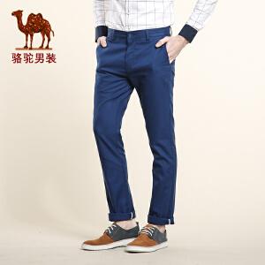 骆驼男装 春季新款微弹中腰纯色修身休闲小脚长裤 商务休闲裤