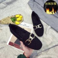 毛毛鞋女2018秋冬新款韩版百搭平底单鞋网红豆豆鞋加绒棉鞋