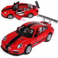 彩珀合金仿真车模保时捷GT3cup赛车声光回力车门可开儿童玩具收藏