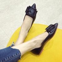 鞋子女2019新款女鞋黑色尖头平底单鞋韩版软底皮鞋大码豆豆鞋