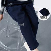 马拉丁童装男童加绒裤子冬装2018新款不对称口袋儿童抗皱休闲长裤
