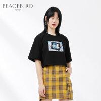 太平鸟女装黑色圆领短袖T恤2019春夏新款短款印花上衣女