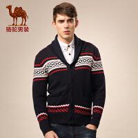 骆驼男装 新品秋款青年V领撞色休闲修身开衫长袖毛衣亲子装男