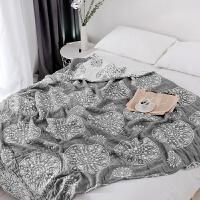 日式六层棉加厚毛巾被单双人柔软空调被透气毛巾毯夏季被子y 灰色 6层圆圈