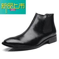 新品上市19新款靴子男士英伦尖头马丁靴短靴潮流靴型师高帮皮鞋
