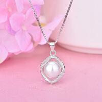 s925银微镶贝珠项链 女韩版优雅气质珍珠吊坠锁骨链 情人节礼物