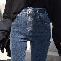 打底裤女2019秋冬新款网红黑色加绒牛仔裤女显瘦紧身高腰圆环九分小脚裤子