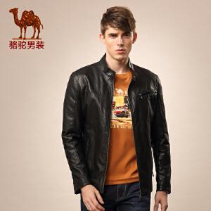 骆驼男装 秋季新款立领纯色百搭流行休闲长袖pu皮衣外套 男