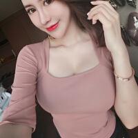 2019夏季韩版性感低胸上衣修身百搭纯色低领打底衫女半袖短款T恤 均码