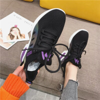 运动鞋女圆头系带飞织休闲舒适低帮鞋韩版时尚百搭学生女士跑步鞋