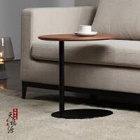 创意北欧实木铁艺圆形边几简约懒人床头沙发桌角几小茶几咖啡边桌 高50cm椭圆 黑胡桃木定制