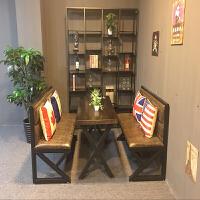 复古工业风铁艺沙发奶茶店酒吧休闲吧西餐厅咖啡厅卡座桌椅组合