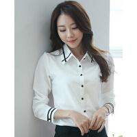 新款时尚百搭女装衬衣雪纺衫韩版休闲潮修身翻领长袖女衬衫