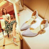 女鞋高跟鞋珍珠一字扣银色亮片中跟5cm性感尖头气质单鞋礼服伴娘
