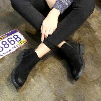 中跟粗跟防滑舒适女鞋2018秋冬季新款韩版女靴子时尚绒面短靴圆头 黑色