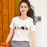 夏季新品百搭圆领修身棉动物图案印花短袖T恤女装上衣小衫