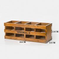 创意实木质办公桌面笔筒 可爱个性遥控器文具盒书桌复古简约笔盒ll