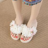 沙滩拖鞋女夏时尚外穿海边滑厚底坡跟夹脚凉拖高跟花朵人字拖女 txe-0916 米白色