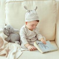 【爆款秒杀价 29.9】初纺2019夏季新款 婴幼儿男女宝宝中性内穿连体衣 含可爱帽子