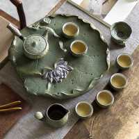 日式复古简约功夫茶具套装 莲花茶盘小茶台 泡茶壶套装家用礼盒装