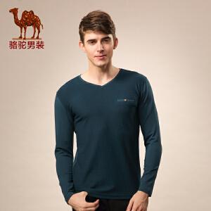 骆驼男装新款秋季修身V领纯色青春流行休闲长袖上衣T恤 男