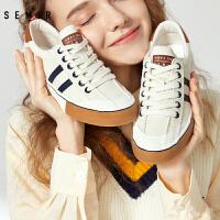 Semir布鞋女休闲鞋复古时尚百搭撞色小白鞋帆布鞋女