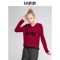 Lagogo/拉谷谷2019冬季新款日系甜美针织衫女HCMM41ZA21