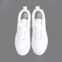 二棉鞋女2018新款加绒雪地小白鞋女冬皮面韩版百搭运动板鞋子 白色(加绒)
