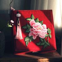 古典中式礼物文艺刺绣大首饰盒带锁化妆盒嫁妆盒结婚礼品