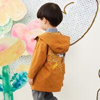【2件3折价:179.7元】马拉丁童装男小童外套春装2020年新款连帽风衣中长款儿童外套