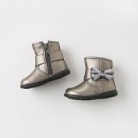 davebella戴维贝拉童装冬季新款女童靴子宝宝加绒保暖棉靴DB11302