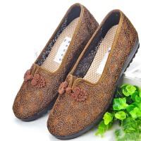 老北京布鞋女 软底奶奶鞋平底老年人凉鞋夏 老人软底夏季鞋子网鞋