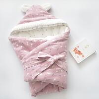 婴儿抱被春秋冬季加厚夹棉新生婴儿初生宝宝襁褓包被两用外出 白鹅 春秋夹棉